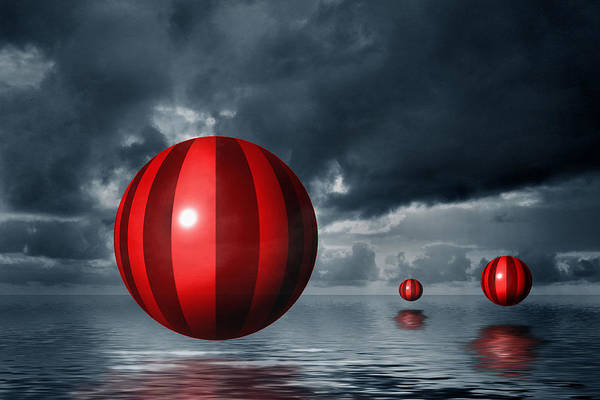 Storm Clouds Art Print featuring the photograph Red Orbs by Judi Quelland