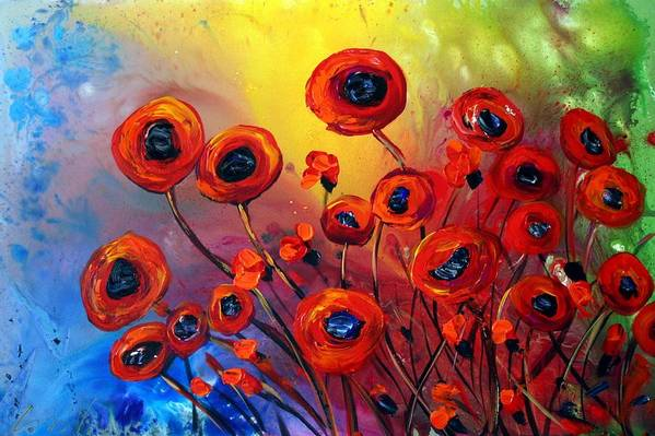 Flowers Art Print featuring the painting Red Poppies In Rain by Luiza Vizoli