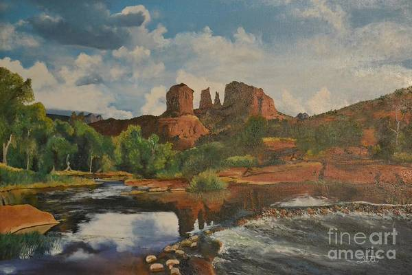 Arizona Art Print featuring the painting Red Rock Crossing by Suzette Kallen