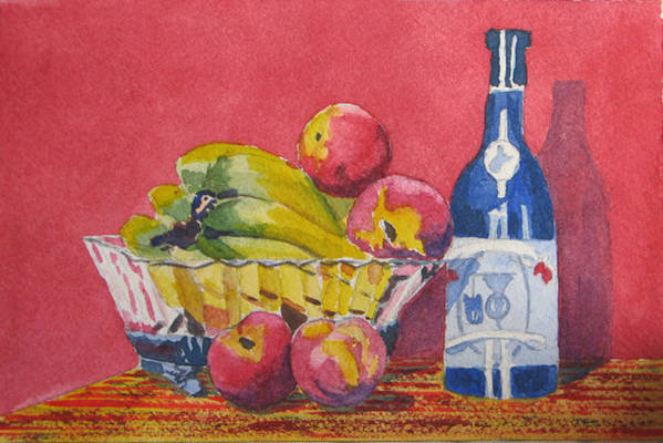Fruit Art Print featuring the painting Red Wall Blue Wine by Libby Cagle
