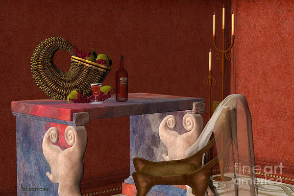 Still Life Print featuring the painting Red Wineglass by Corey Ford