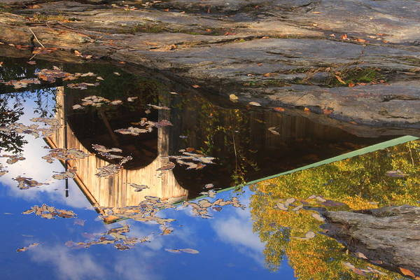 Covered Bridge Art Print featuring the photograph Reflection Of Montgomery Covered Bridge by John Burk