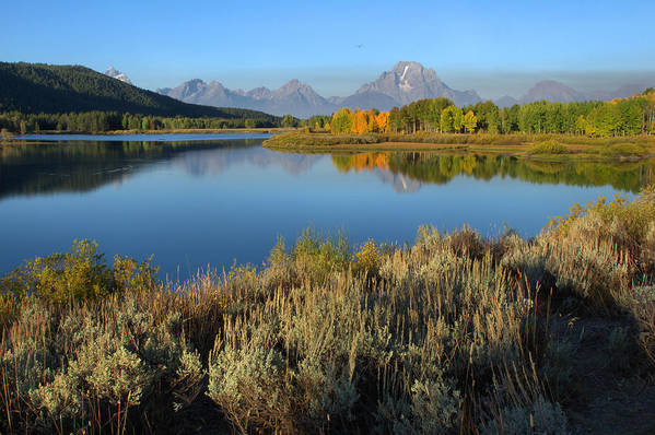 The Tetons Art Print featuring the photograph Reflections At Oxbow Bend by Stephen Vecchiotti
