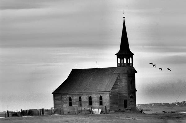 Geese Art Print featuring the photograph Requiem For An Old Church by Jeff Swan