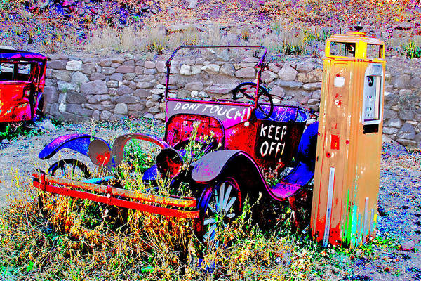 Antique Car - Abstract - Gas Pump - Posterization Art Print featuring the photograph Rest In Peace by Kurt Gustafson