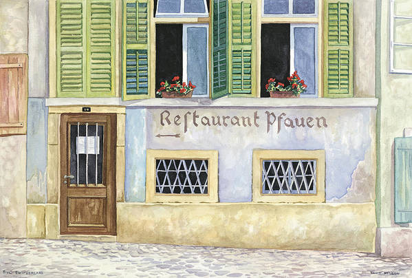 Restaurant Art Print featuring the painting Restaurant Pfauen by Scott Nelson