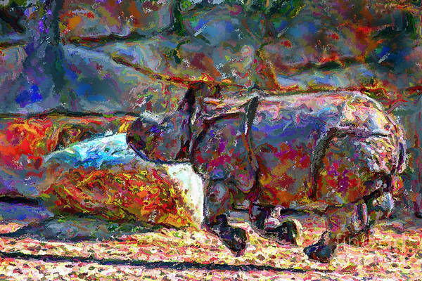 Animals Art Print featuring the digital art Rhino On The Run by Marilyn Sholin