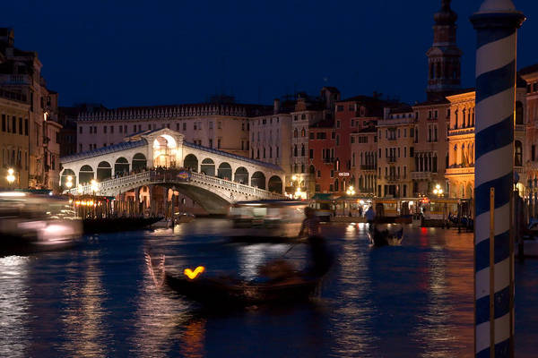 Venice Art Print featuring the photograph Rialto Bridge In Venice At Night With Gondola by Michael Henderson