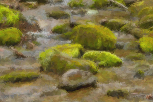 Smokey Mountains Art Print featuring the digital art River Stones by Paul Bartoszek