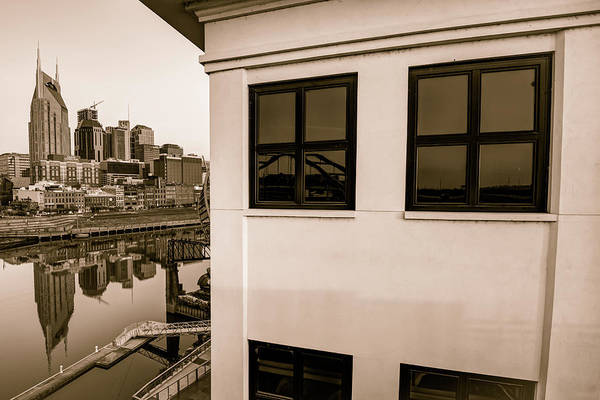 America Art Print featuring the photograph Riverfront View Of The Nashville Skyline - Vintage Sepia by Gregory Ballos