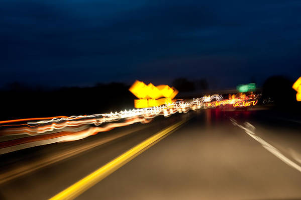 Freeway Art Print featuring the photograph Road At Night 1 by Steven Dunn