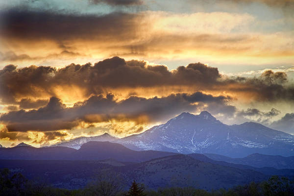 Longs Peak Art Print featuring the photograph Rocky Mountain Springtime Sunset 3 by James BO Insogna