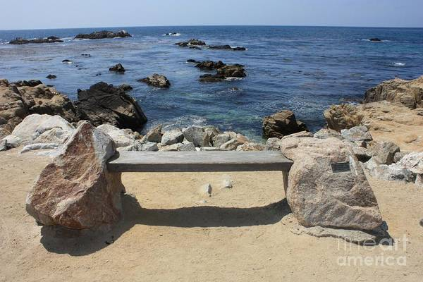 Seaside Bench Art Print featuring the photograph Rocky Seaside Bench by Carol Groenen