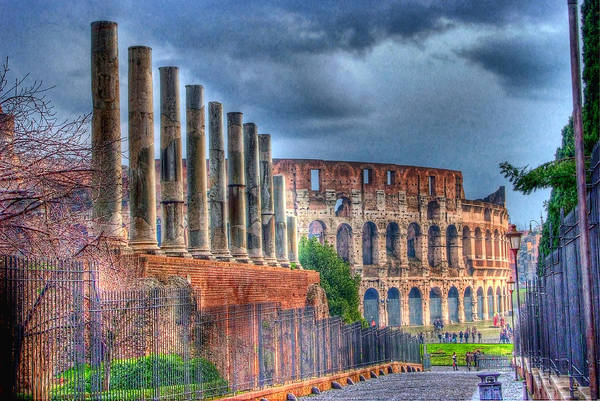 Hdr Art Print featuring the photograph Roman Colosseum by E R Smith
