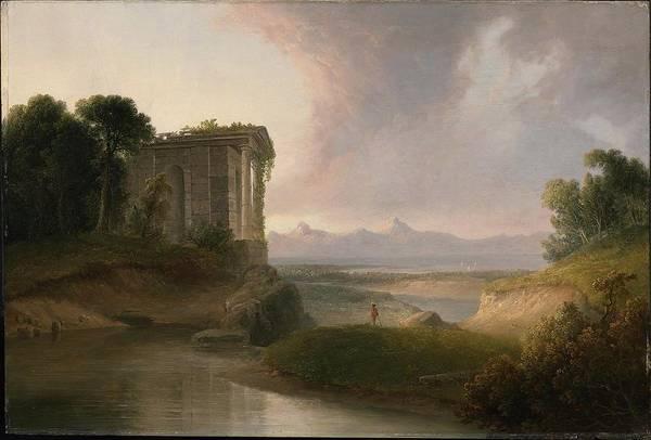 Romantic Landscape With A Temple Art Print featuring the painting Romantic Landscape With A Temple by MotionAge Designs