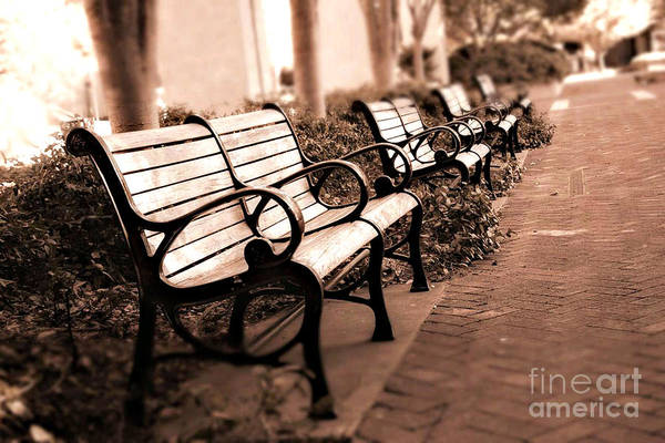 Dreamy Park Benches Art Print featuring the photograph Romantic Surreal Park Bench Pink Sepia Tones by Kathy Fornal