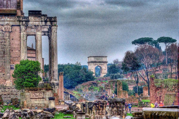 Hdr Art Print featuring the photograph Rome Horizon by E R Smith