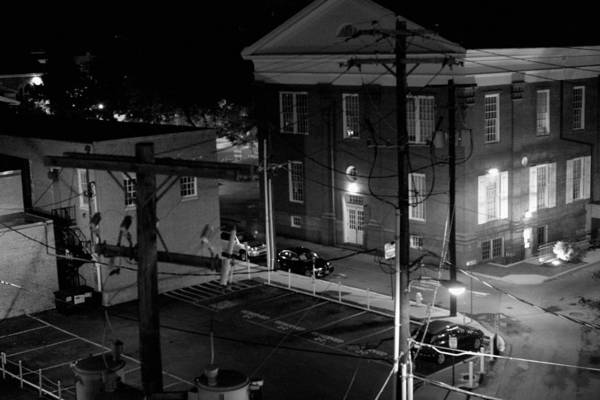 Black White Art Print featuring the photograph Rooftop Court by Jean Macaluso