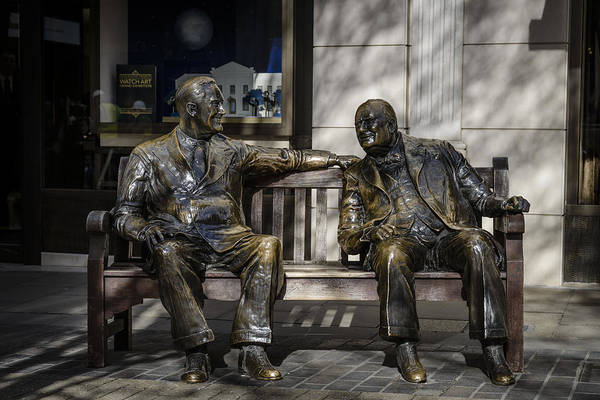 Bench Art Print featuring the photograph Roosevelt And Churchill Statue by A Souppes