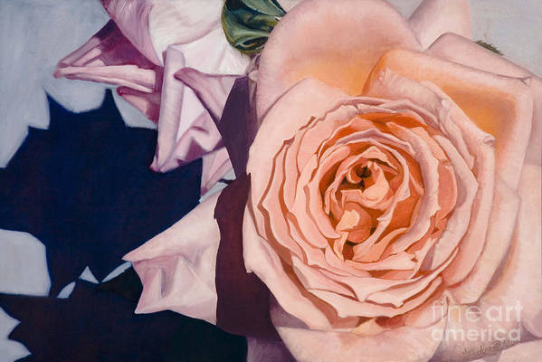 Roses Art Print featuring the painting Rose Splendour by Kerryn Madsen-Pietsch