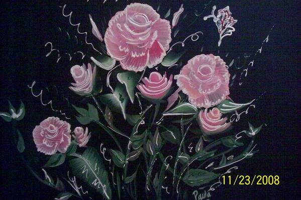 Roses Art Print featuring the painting Roses by Paula Ferguson
