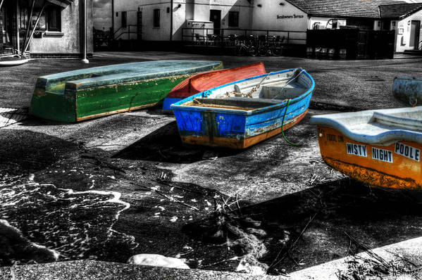 Rowing Art Print featuring the photograph Row Boats At Mudeford by Chris Day