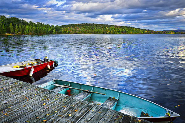 Rowboats Print featuring the photograph Rowboats On Lake At Dusk by Elena Elisseeva