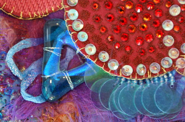 Art Print featuring the mixed media Ruby Slippers 4 by Judy Henninger