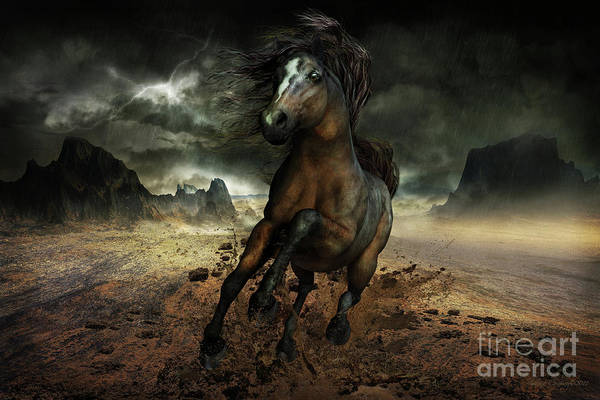 Dun Horse Art Print featuring the digital art Run Like The Wind by Shanina Conway