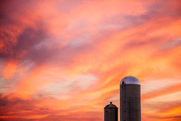 Silos Art Print featuring the photograph Rural Skies by Todd Klassy