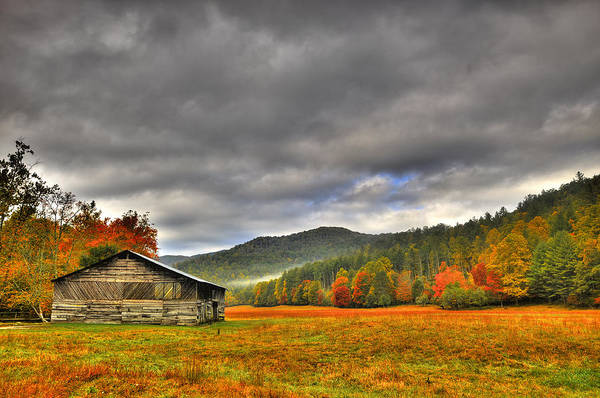 Fall Art Print featuring the photograph Rustic Autumn Barn by Marion Wear