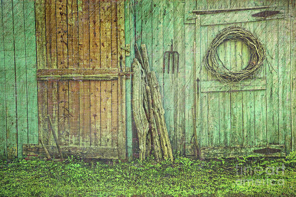 Barn Art Print featuring the photograph Rustic Barn Doors With Grunge Texture by Sandra Cunningham