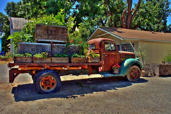 Hdr Art Print Featuring The Photograph Rustic Flower Truck By Randy Wehner Photography