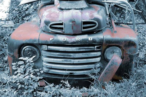 Old Art Print featuring the photograph Rusty Blue Ford by Jame Hayes