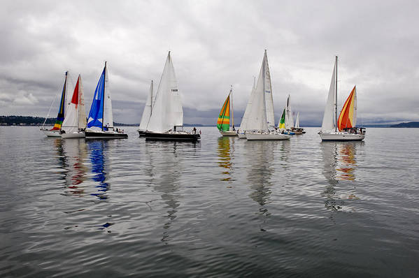 Sail Art Print featuring the photograph Sailboat Race Seattle by Tom Dowd