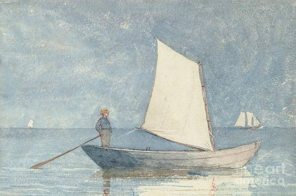 Boat Art Print featuring the painting Sailing A Dory by Winslow Homer