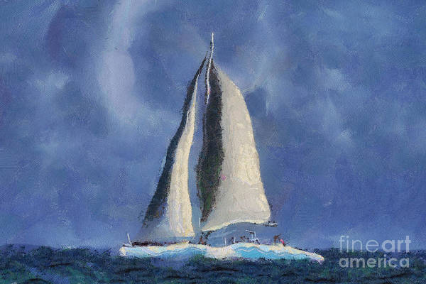 Sail Art Print featuring the digital art Sailing Away by Teresa Zieba