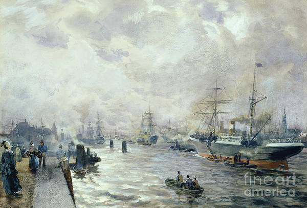 Sailing Art Print featuring the painting Sailing Ships In The Port Of Hamburg by Carl Rodeck