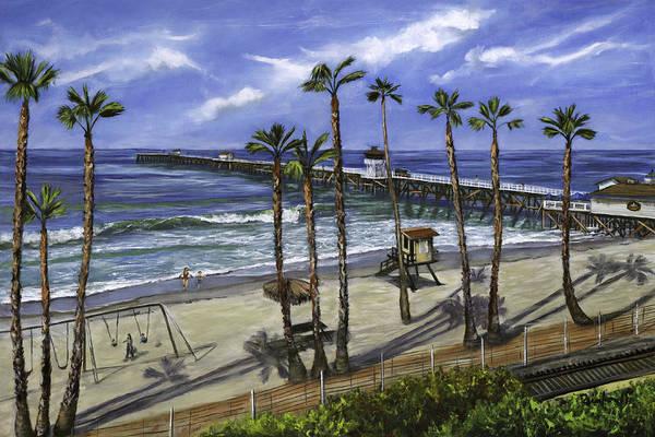 Pier Print featuring the painting San Clemente Pier by Lisa Reinhardt