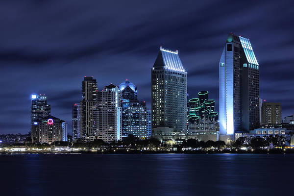 San Diego Art Print featuring the photograph San Diego Skyline At Night by Larry Marshall