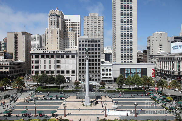 Wingsdomain Art Print featuring the photograph San Francisco . Union Square . 5d17938 by Wingsdomain Art and Photography