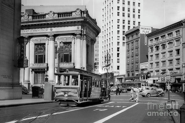 O'farrell At Market Street Art Print featuring the photograph San Francisco Cable Car During Wwii by Wernher Krutein