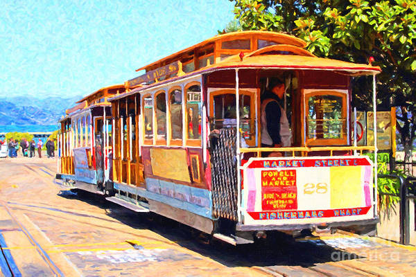 San Francisco Art Print featuring the photograph San Francisco Cablecar At Fishermans Wharf . 7d14097 by Wingsdomain Art and Photography