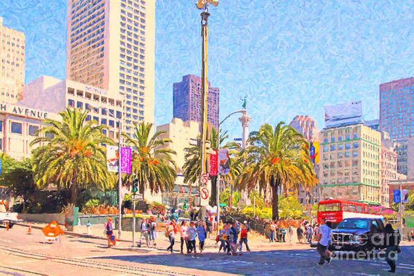 San Francisco Art Print featuring the photograph San Francisco Union Square by Wingsdomain Art and Photography