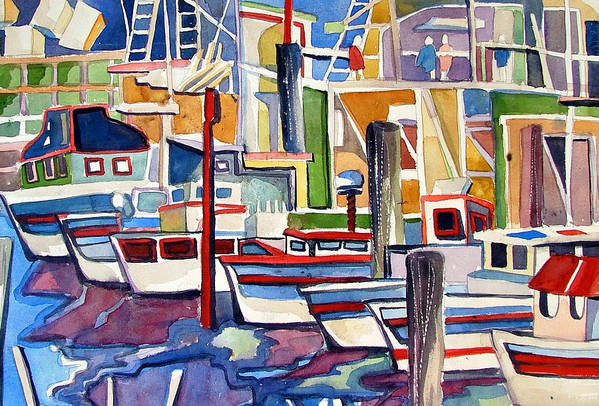 Marina Art Print featuring the painting San Fransico Marina by Mindy Newman