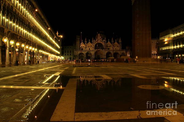 Venice Art Print featuring the photograph San Marco In Venice At Night by Michael Henderson