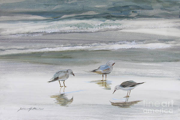 Art Print featuring the painting Sandpipers by Julianne Felton
