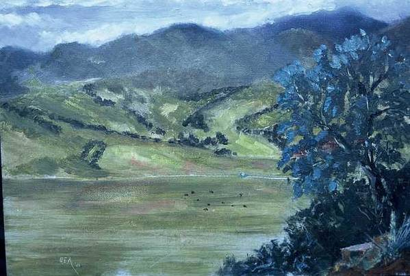 Only 42 Degrees On The First Day Of Spring Art Print featuring the painting Santa Yanez Valley    First Day Of Spring by Bryan Alexander