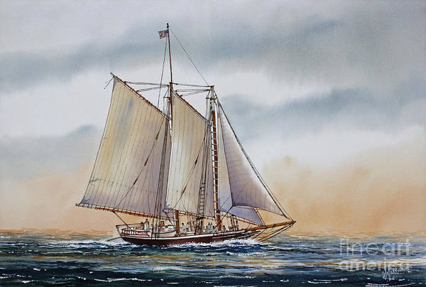 Fathers Day Sailing Vessel Framed Print Art Print featuring the painting Schooner Stephen Taber by James Williamson