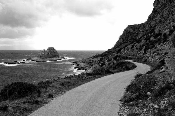 Road Street Sea Rocks Black White Tempest Storm Art Print featuring the photograph Sea Road by Marco Moscadelli